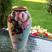 "Gorgeous Vintage 1915 Bavaria Hand Painted ""Deep Red & Pink Roses"" 8-1/8"" Vase by Artist, ""M.W. Poole"" - Red Tag Sale Item"