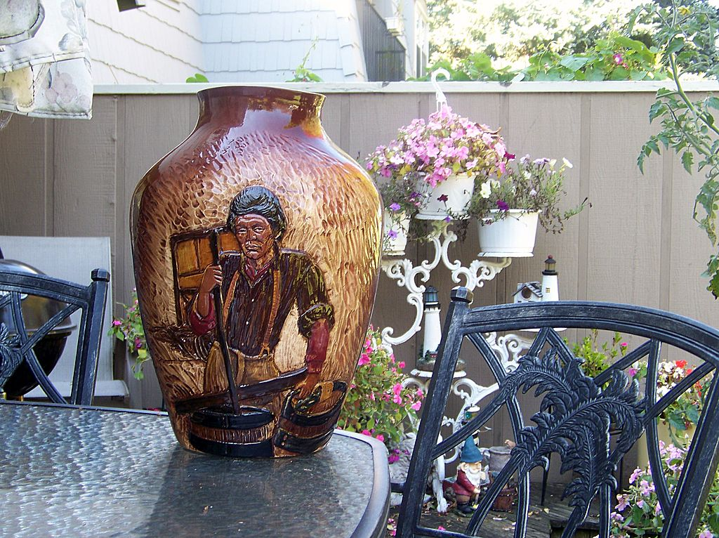 "Large 17-1/8"" Wihoa's Art Pottery Hand Carved ""Special"" Rick Wisecarver High Relief ""Barrel Maker"" Scenic Vase SIGNED"