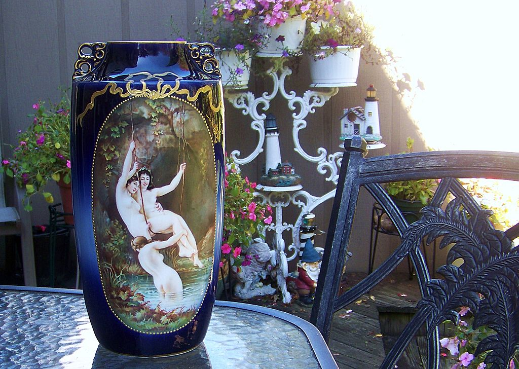 "Incredible Elite France Limoges 1900's Hand Painted ""Three Nudes Frolicking in A Grotto Pool"" 12-7/8"" Cobalt Vase"