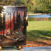 "Fabulous 1900's H & C Selb Bavaria Hand Painted ""Forest Fire in the Wilds"" 10-1/2"" Cache Pot, by Pickard Artist, ""A. Heidrich"""