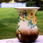 "Bavaria 1930's Hand Painted ""Yellow Roses"" Flared 4-3/4"" Vase by Artist, ""Nellie Cullen Loewy"""