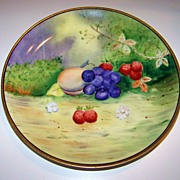 "Attractive Bavaria Vintage Hand Painted 1900's ""Peaches, Grapes, & Strawberries"" 8-5/8"" Fruit Plate by Pickard Artist ""Beutlich"""