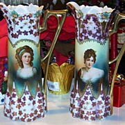 """Spectacular 1900's RS Prussia """"Countess Potocka & Madame Recamier"""" 15-1/4"""" Lily Mold Pair of Matched Portrait Tankards"""