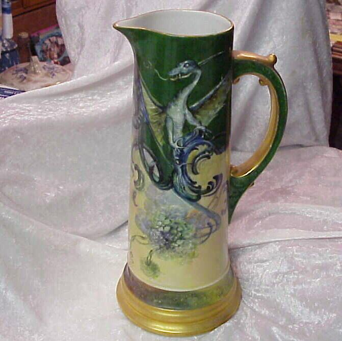 "Limoges France 1900's Hand Painted Vintage ""Flying Dragon"" 14-7/8"" Tankard, Artist SIGNED"