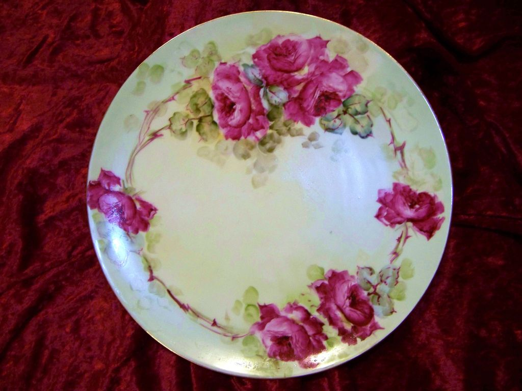 "T & V Limoges France 1900's Hand Painted ""Deep Red Roses"" 12-1/2"" Charger by ""Kellogg"""