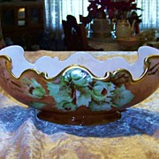 "Fancy & Scallop Vienna, Austria 1900's Hand Painted ""Flowering Thorns"" 11"" Pedestal Fruit Bowl by Artist, ""I. Boyle"""