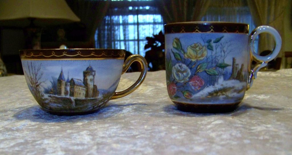 Royal Bayreuth 1900's Vintage Hand Painted Scenic Tapestry Coffee & Chocolate Cups
