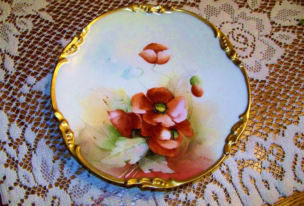 "Gorgeous E.W. Donath Studio & J.P.L. France Limoges 1900's Hand Painted ""Burnt Orange Poppy"" 7-5/8"" Plate by Artist, ""Max Rost"""