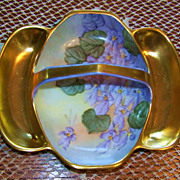 "Gorgeous European 1910 Hand Painted ""Violets"" 3-Sectional 8"" Handle Tray by Artist, ""S.K."""