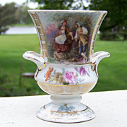 "Scarce RS Prussia 1900's ""Scenic Romancing Couple"" 3-5/8"" Vase"