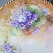 "Professionally Decorated Vintage 1900's Bavaria Hand Painted ""Violets"" 8-1/4"" Plate by the Artist, ""H.M."""