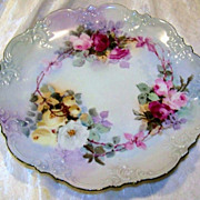 "Beautiful AKD France Limoges 1900's Hand Painted ""Deep Red, Pink, Yellow, & White Roses"" 9-3/8"" Plate"