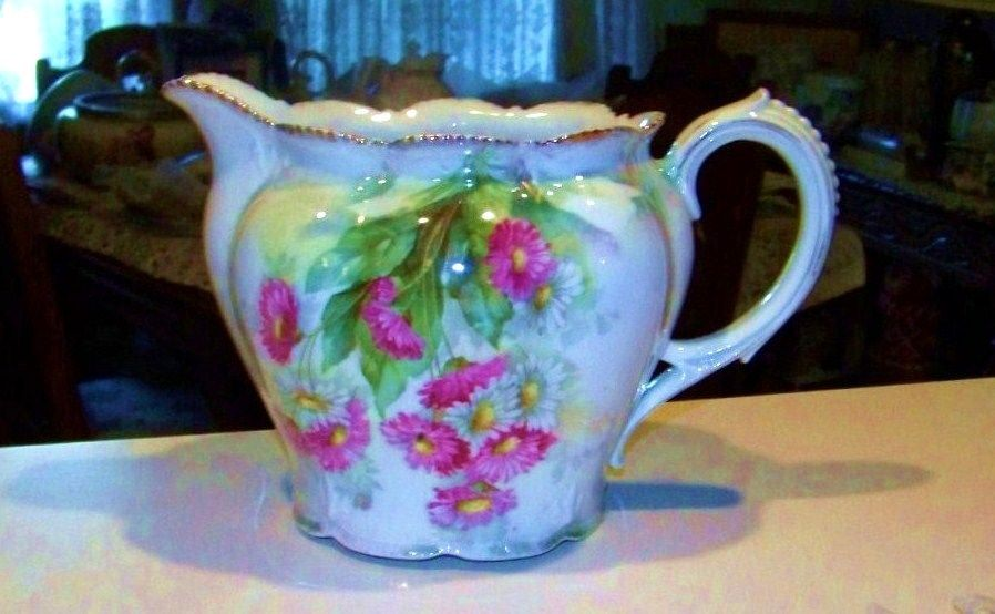 "Beautiful RS Prussia 1900's ""Red & White Daisies"" 6-1/4"" Cider Pitcher"