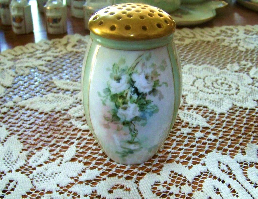 "Bavaria 1900's Hand Painted ""White Roses"" 4-5/8"" Sugar Shaker"