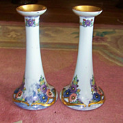 "Czechoslovakia 1924 Hand Painted ""Art Deco Enamel Style Daisies"" 8-1/4"" Candlestick Holder by Artist, ""Adele Horn"""