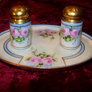 "Vintage Haviland France 1906 Hand Painted ""Pink Roses"" 3-Pc Floral Condiment Set by ""J.H.Stouffer Studio of Chicago"""
