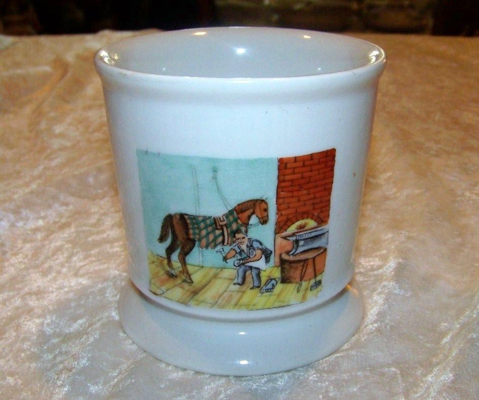 "Bavaria 1900's Hand Painted Occupational Shaving Mug ""Blacksmith"" 3-3/4"""