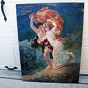 "Rare 1904 Paul Garrett's Special Dry Champagne ""The Storm"" Advertising Sign for the Virginia Dare Winery 39-1/2"" X 29-5/8"""