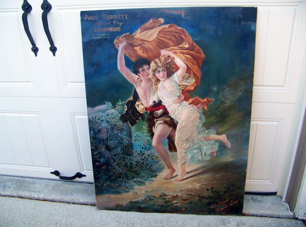 """Rare 1904 Paul Garrett's Special Dry Champagne """"The Storm"""" Advertising Sign for the Virginia Dare Winery 39-1/2"""" X 29-5/8"""""""