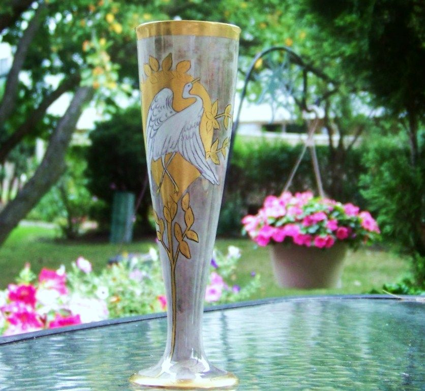 "Vintage Bavaria 1900's Hand Painted ""White Crane"" 8"" Trumpet Vase by Artist, ""H.R."""