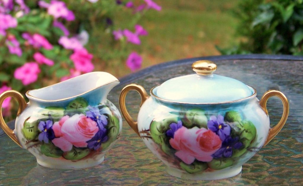 "Vintage Germany 1900's Hand Painted ""Roses & Violets"" Sugar & Creamer"