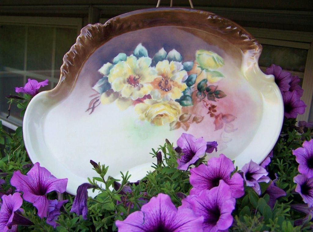 "Gorgeous Vintage 1900's Limoges France Hand Painted ""Deep Yellow Roses"" 12-3/4"" Dresser Tray"