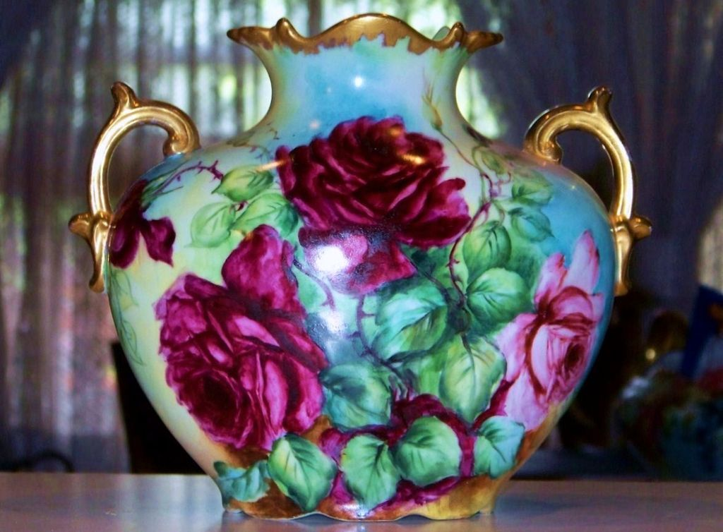 "Spectacular Vintage Vienna Austria 1907 Large ""Deep Red & Pink Roses"" 8-3/4"" Pillow Vase by the Artist, ""B. Arnold"""