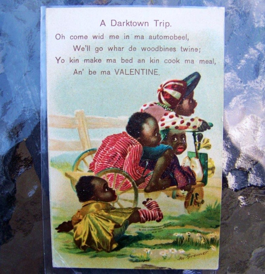 "Black Americana, German Printed, 1909 Valentine Post Card Entitled ""A Darktown Trip"""