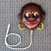 Vintage Black Americana 1910's German GOGGLE-EYE Pull Tin Litho Germany Toy