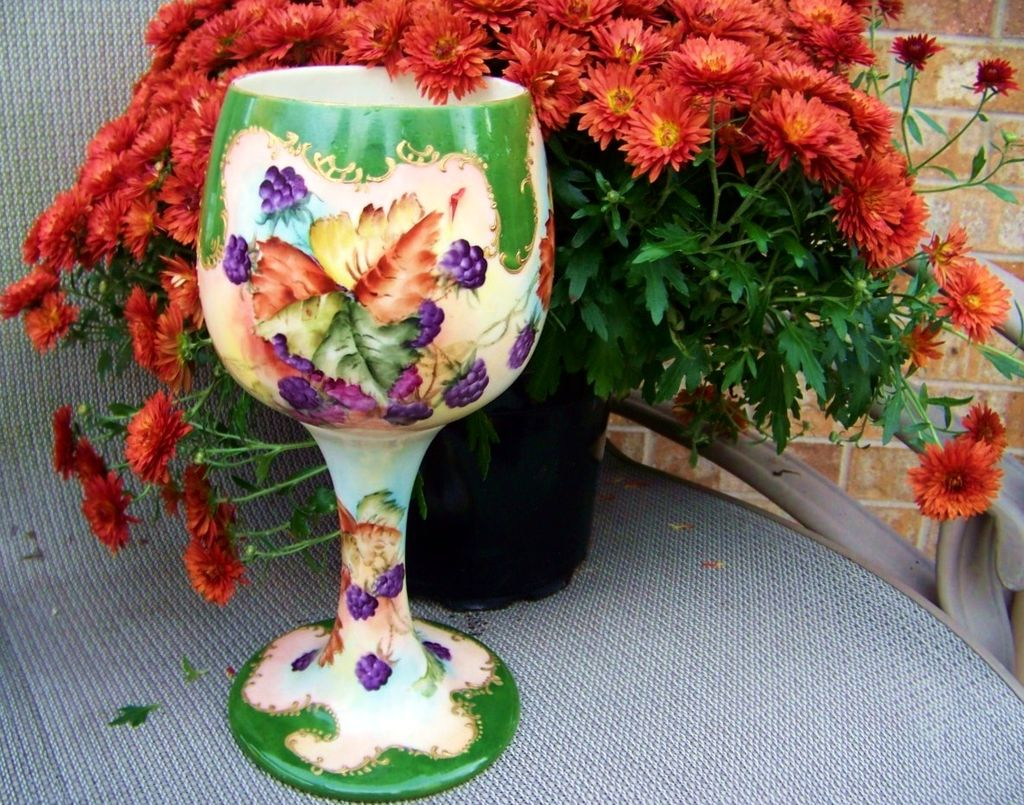 "Wonderful 1900's Vintage Belleek Hand Painted ""Blackberries"" in the Tradition of the Celtic Wedding Goblet"