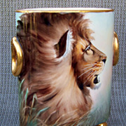 """Vintage Limoges France 1900's Hand Painted """"Lion & Savannah Oasis"""" 6-3/4"""" Cache Pot Marked Heidrich Studio by Renowned Chicago Artist, """"Adolph Heidrich"""""""
