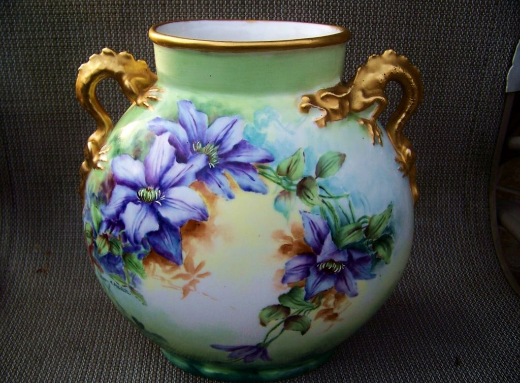 "Gorgeous Vintage J.P.L France Limoges 1900's Hand Painted Vibrant ""Clemantis & Pink Poppies"" 9-3/8"" Dragon Handle Pillow Vase by the Artist, ""C. Nesbit"""