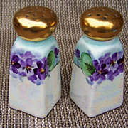 "Gorgeous & Vibrant 1900's German Silesia Hand Painted ""Violets"" 3-5/8"" Salt & Pepper Shakers"