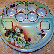 "Outstanding Vintage MZ Austria 1900's Hand Painted ""Blackberry"" 9-1/2"" Egg Plate Holder Artist Signed"