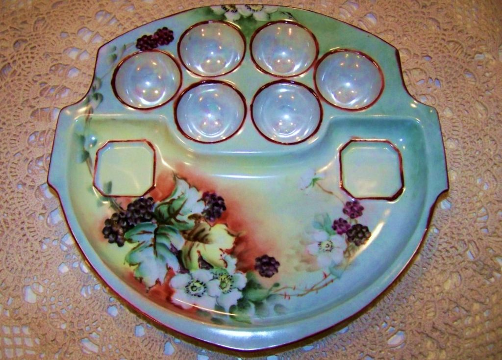 "Outstanding Vintage MZ Austria 1900's Hand Painted ""Blackberry"" 9-1/2"" Egg Plate Holder Artist Signed"