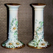 "Beautiful Bavaria 1900's Hand Painted ""Daisies"" 6-1/8"" Pair of Candlestick Holders by the Artist, ""Cass"""