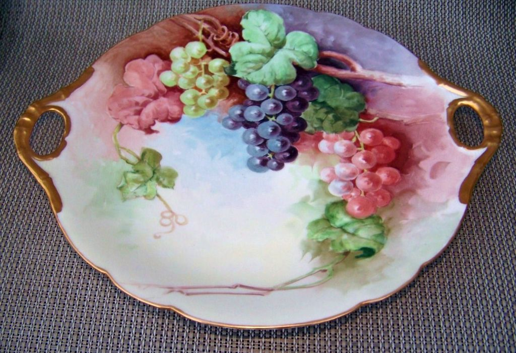 "Outstanding J.P.L. France Limoges 1900's Hand Painted Vibrant ""Red Green, & Purple Grapes"" 11-5/8"" Charger"