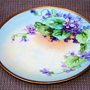 "Vintage William Guerin Limoges France 1900's Hand Painted ""Violets"" 8-1/2"" Plate"