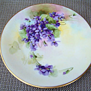 "Vintage Julius Brauer China Studio 1905 Hand Painted ""Violets"" 7-3/8"" Plate"
