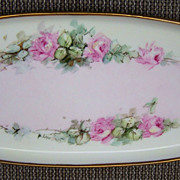 "Attractive Vintage 1914-21 Bavaria Hand Painted ""Petite Pink Roses"" 15"" Tray by the Chicago Listed Artist, ""Anna Larson"""