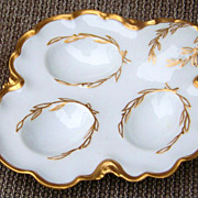 "Beautiful Vintage 1900's H & Co. Limoges France Hand Painted ""3-Sectional Egg Holder"" Decorated in the Tradition of Master China Decorator, ""William Lycett"""