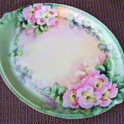 """Vintage Limoges France 1900's Hand Painted """"Wild Pink Roses"""" 9-3/4"""" Tray"""