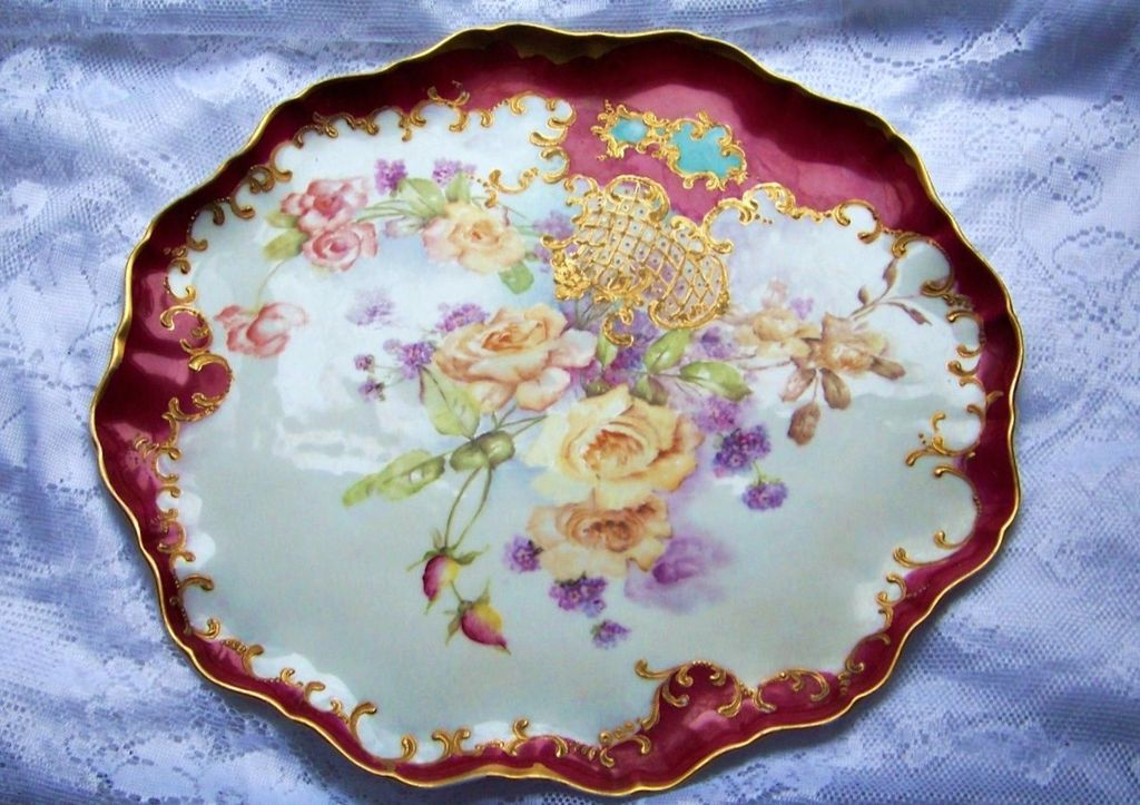 "Spectacular & Vibrant J.P.L. France Limoges Hand Painted ""Yellow & Peach Roses"" 15-7/8"" Red Decor Tray"