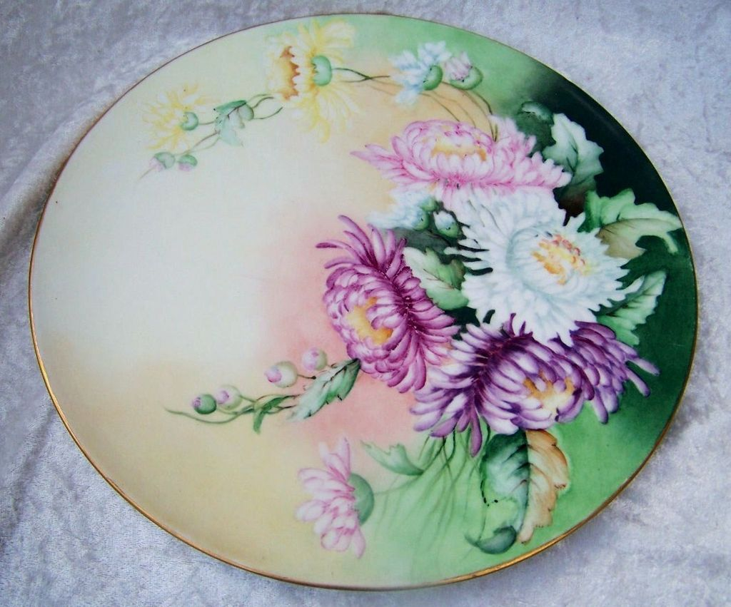 "Attractive Vintage 1900's J.P.L. France Limoges Hand Painted ""Pink, White, Lavender, & Yellow Mums"" 11-1/2"" Plaque"