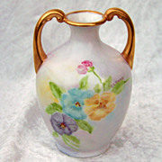 "Beautiful Limoges France 1900's Hand Painted ""Blue, Purple, & Yellow Pansy"" 4-5/8"" Petite Muscle Vase by the Artist, ""C.L. Doma"""