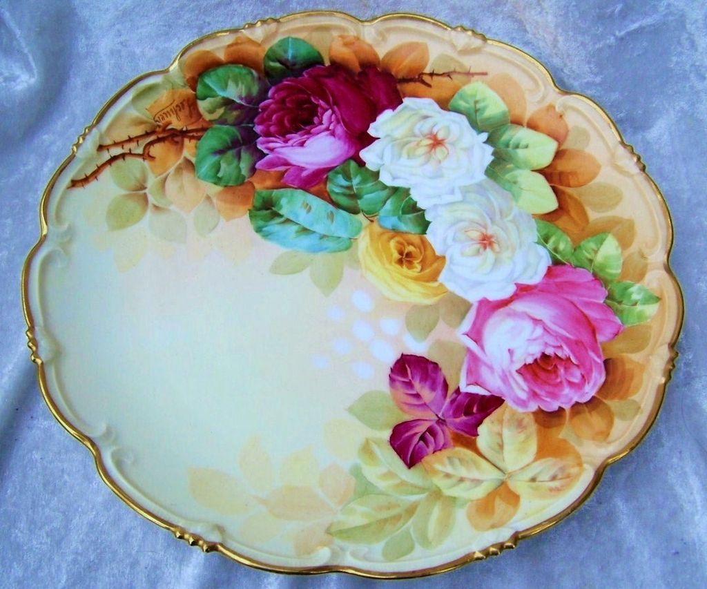 "Spectacularly Decorated Vintage 1900's Vienna Austria Hand Painted Vibrant ""Red, Pink, White, & Yellow Roses"" 11-1/2"" Fancy Scallop Charger by the Artist, ""Fecheur"""