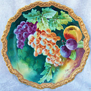 "Gorgeous Vintage 1900''s Comte D'Artois Limoges France Hand Painted Vibrant ""Purple & Yellow Grapes With Peaches & Plums"" 11-1/2"" Rococo Charger by the Artist, ""Laure"""