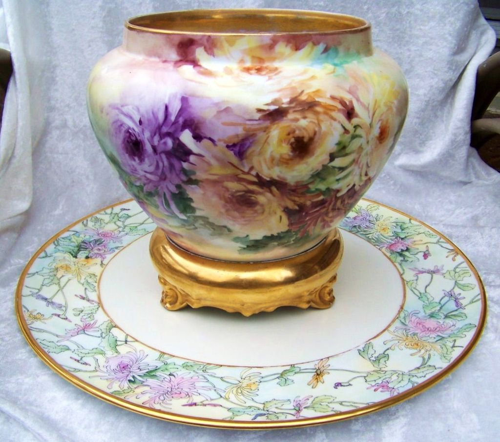 "16"" Large & Attractive Vintage T & V Limoges France 1900's Hand Painted ""Lavender, Pink, Yellow, & Burnt Orange Mums"" Plaque"