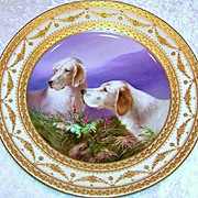 "Spectacular Vintage Royal Vienna Hand Painted Scenic ""Irish Setters At Work"" 10-3/8"" Plate by the Artist, ""C. Pohl"""