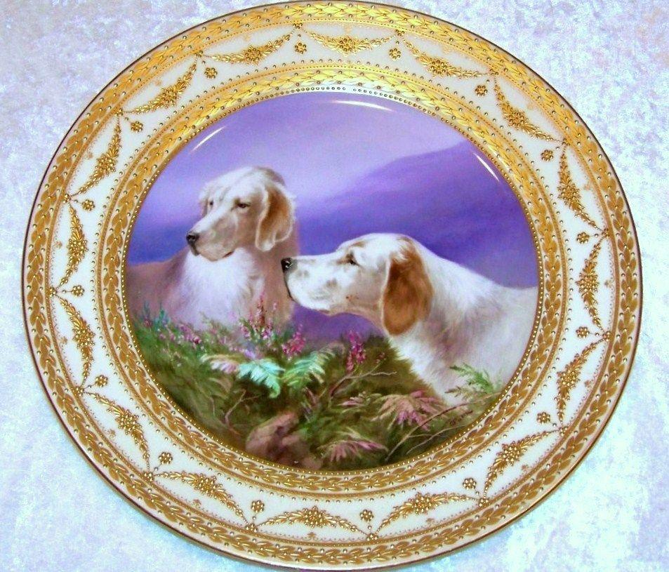 "Spectacular Vintage Royal Vienna Hand Painted Scenic ""English Setters"" 10-3/8"" Plate by the German Artist, ""C. Pohl"""